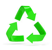 Logo recycling. Green arrows recycling symbol. 3d image. White background Stock Photo