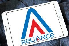 Reliance Communications logo. Logo of Reliance Communications on samsung tablet  . Reliance Communications ,RCom, is an Indian telecommunications company Stock Photo