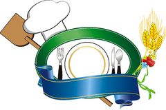 Logo restaurant. Illustration with plate and hat for restaurant Royalty Free Stock Images