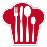 Logo for Restaurant. Abstract representation of cutlery in a chef's hat symbolized isolated on white background. Vector available Stock Photo