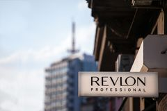 Logo of Revlon on their local retailer for Serbia. Revlon is an American cosmetics and beauty products. NPicture of the Revlon professional sign with their logo royalty free stock photos