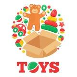 Logo rond avec l'ours et les jouets de nounours bruns ouverts de boîte illustration libre de droits