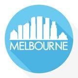 Logo rond de calibre de silhouette de ville d'Art Flat Shadow Design Skyline de vecteur d'icône d'Australie de Melbourne illustration stock