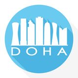 Logo rond de calibre de silhouette de ville d'Art Flat Shadow Design Skyline de vecteur d'icône de Doha Qatar Asie illustration de vecteur
