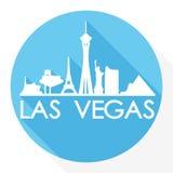 Logo rond de calibre de silhouette de ville d'Art Flat Shadow Design Skyline de vecteur d'icône de Las Vegas Nevada United States illustration stock