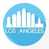 Logo rond de calibre de silhouette de ville d'Art Flat Shadow Design Skyline de vecteur d'icône de Los Angeles la Californie Etat Image libre de droits