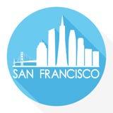 Logo rond de calibre de silhouette de ville d'Art Flat Shadow Design Skyline de vecteur d'icône de San Francisco Ca United States Photo libre de droits