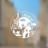 Logo rond linéaire avec la statue de l'ours et de l'arbousier et d'autres lanmarks de Madrid, Espagne Image stock
