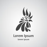 Logo with rooster head on a light background. Royalty Free Stock Photo