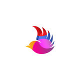 Logo rosa isolato di vettore di vista laterale dell'uccello di volo di colore Logotype animale Icona di profilo alare Siluetta de Fotografia Stock Libera da Diritti