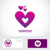 Logo rosa porpora di amore del cuore Fotografie Stock Libere da Diritti