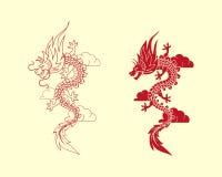 Logo rosso del drago Immagine Stock