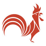 Logo rosso del silhoutte del gallo Illustrazione Vettoriale
