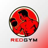 Logo rosso della palestra, logo di forma fisica, logo di sport, logo della palestra illustrazione di stock