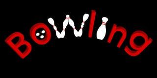 Logo rosso di bowling di scrittura Fotografie Stock