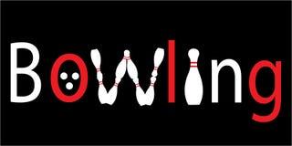 Logo rosso di bowling di scrittura Fotografia Stock