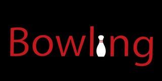 Logo rosso di bowling di scrittura Immagine Stock