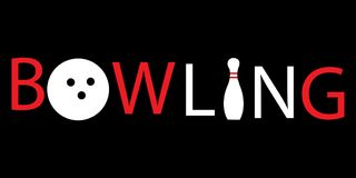 Logo rosso di bowling di scrittura Immagini Stock Libere da Diritti