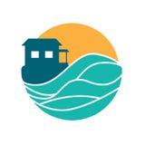 Logo rotondo di vettore del cottage dell'isola Immagine Stock