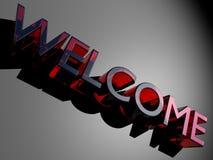 Logo rouge de bienvenue en verre Photos stock