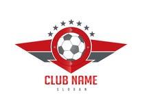 Logo rouge de bouclier d'aile du football Photo stock