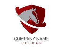 Logo rouge de bouclier de cheval Photos stock