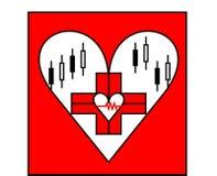 Logo rouge de coeur des derniers soins de santé de style Image stock