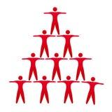 Logo rouge de personnes de travail d'équipe avec des icônes de personnes illustration libre de droits