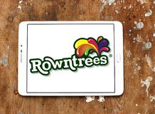 Rowntree`s food brand logo. Logo of Rowntree`s food on samsung tablet. Rowntree is an English confectionery business stock image
