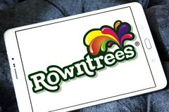 Rowntree`s food brand logo. Logo of Rowntree`s food on samsung tablet . Rowntree is an English confectionery business royalty free stock photo