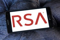 RSA Security company logo. Logo of RSA Security company on samsung mobile. RSA, is an American computer and network security company Royalty Free Stock Photos