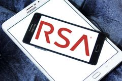 RSA Security company logo. Logo of RSA Security company on samsung mobile. RSA, is an American computer and network security company Royalty Free Stock Image
