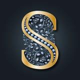 Logo S de lettre Vecteur ABC Alphabet d'or Fleurit le symbole héraldique Les initiales du monogramme illustration stock