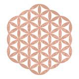 Logo sacré de studio de yoga de conception de la géométrie de feuille d'or de Rose, tatouage métallique, fleur fleurie décorative illustration de vecteur