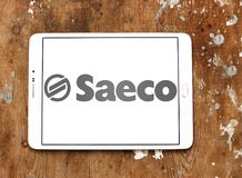 Saeco coffee machines company logo. Logo of Saeco company on samsung tablet . Saeco International Group SpA is an Italian manufacturer of coffee machines Stock Images