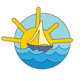 Logo a sailing vessel in the sea. Royalty Free Stock Image