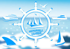 Logo with a sailing vessel and steering wheel Royalty Free Stock Images