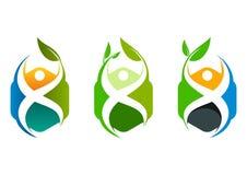 Logo sain de cube, conception de l'avant-projet centrale de bien-être Image stock