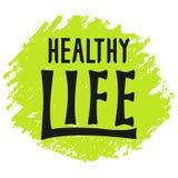 Logo sain de lettrage de la vie, label écrit par main illustration stock