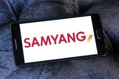 Samyang Optics company logo. Logo of Samyang Optics on samsung mobile. Samyang Optics Company Limited is a Korean manufacturer of lenses, closed circuit Stock Photo