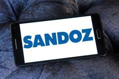 Sandoz pharmaceutical company logo. Logo of Sandoz company on samsung mobile. Sandoz is a global leader in generic and biosimilar medicines Royalty Free Stock Photo