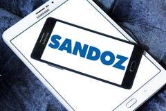 Sandoz pharmaceutical company logo. Logo of Sandoz company on samsung mobile. Sandoz is a global leader in generic and biosimilar medicines Stock Photos