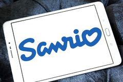 Sanrio company logo. Logo of Sanrio company on samsung tablet. Sanrio is a Japanese company that designs, licenses and produces products focusing on the kawaii royalty free stock images