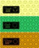 Logo sans couture avec le label pour le jus naturel Photos stock