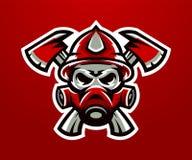 Logo, sapeur-pompier de mascotte Tâche mortelle, une profession dangereuse, crâne, squelette, haches sur la croix, masque, peloto illustration stock
