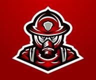 Logo, sapeur-pompier de mascotte Tâche mortelle, une profession dangereuse, masque, peloton de délivrance, uniformes Illustration illustration de vecteur