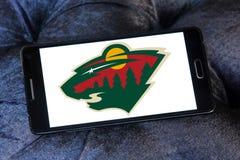 Logo sauvage d'équipe de hockey de glace du Minnesota Photo stock