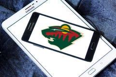 Logo sauvage d'équipe de hockey de glace du Minnesota Photos stock