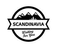 Logo with Scandinavian Nature Landscape Royalty Free Stock Photos