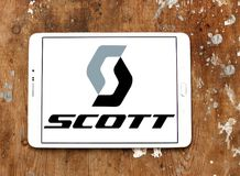 Scott Sports company logo. Logo of Scott Sports on samsung tablet. Scott Sports is a Swiss producer of bicycles, winter equipment, motorsports gear and stock photos